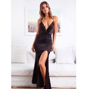 Hello Molly maxi Black satin formal dress